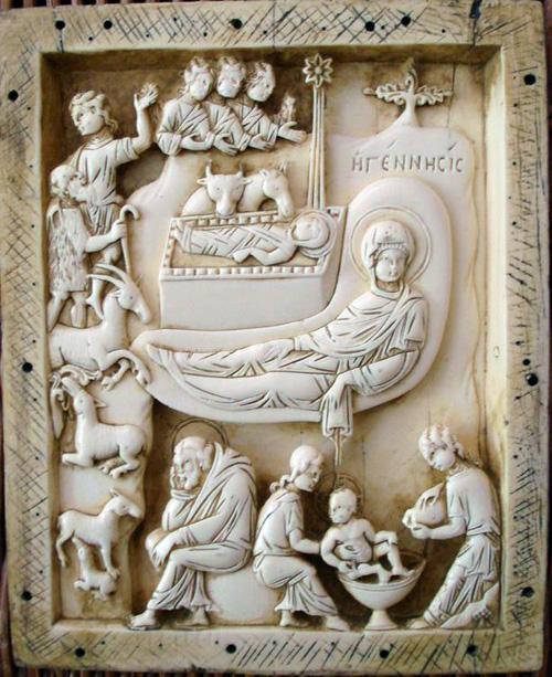 Рождество Христово. Византийский рельеф, X-XI вв., Музеи Ватикана