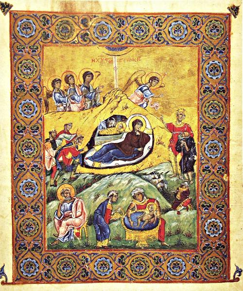 Рождество Христово. Миниатюра Книги евангельских чтений императора Фоки, Византия, XII в.