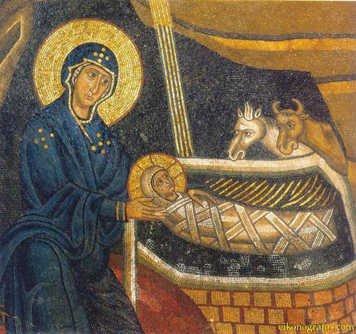 Рождество Христово. Фрагмент мозаики, Греция, монастырь Осиос Лукас, начало XIV в. (сайт www.eikonografos.com)