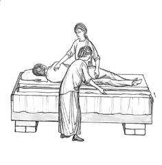 Рис.2. Одна сестра удерживает пациента в положении на боку. Вторая скатывает грязную простыню до середины кровати и расстилает чистую, предварительно сложенную так, чтобы ее можно было раскатать.