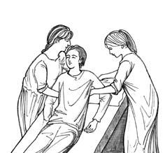 Рис.5. Чтобы приподнять больного с постели, две сестры должны сцепить руки у него за спиной в так называемом «дружеском пожатии» (см. вид сзади на рис.6). Левая рука стоящей слева сестры проходит за спиной больного так, чтобы ладонь находилась у него под мышкой. При этом голова больного лежит на руке сестры.