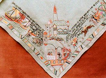 Аллегорическое изображение высадки Союзников. Вышивка матери Марии, лагерь Ревенсбрюк