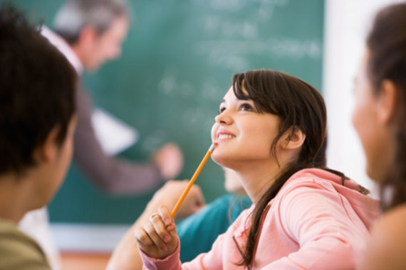 Pensive Student in Classroom