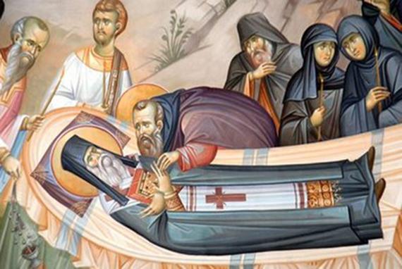 Прощание со святым; фрагмент фрески Фото с сайта agiosnektarios.gr