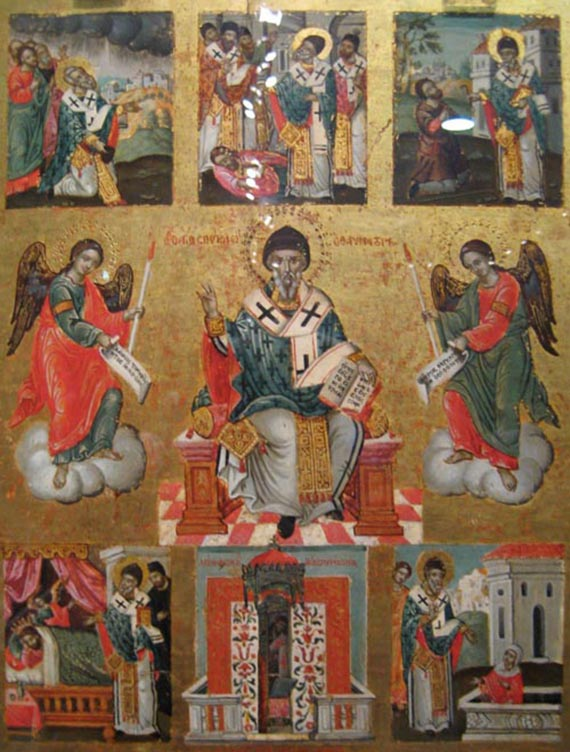 Св.Спиридон с житием; греческая икона, 1744 гИзображение с сайта wikipedia.org
