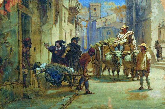 Уборка трупов во время эпидемии. Бронников Фёдор Андреевич (1827-1902)