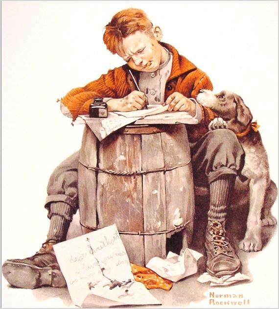 "Н. Роквелл, ""Мальчик, пишущий письмо"", 1920. Фото с сайта beta.wikiart.org"