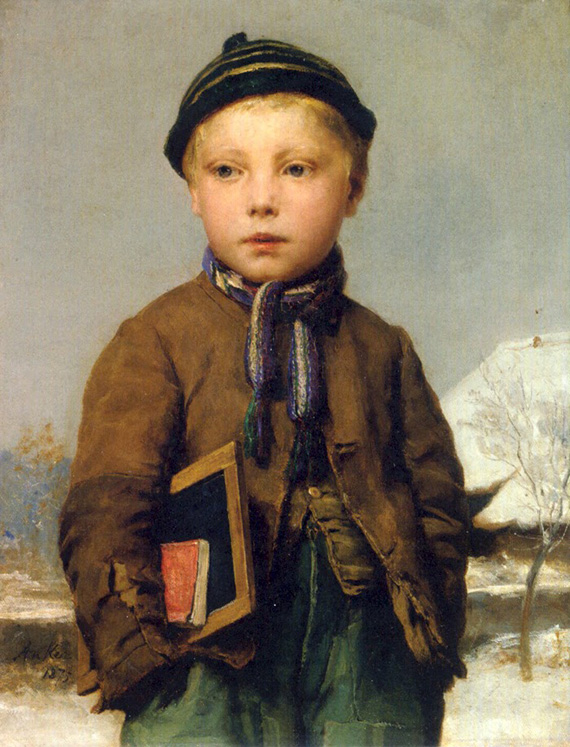 Albert Anker 1831 - 1910 Realism Painting school-boy-with-slate-board-in-a-snowy-landscape-1875