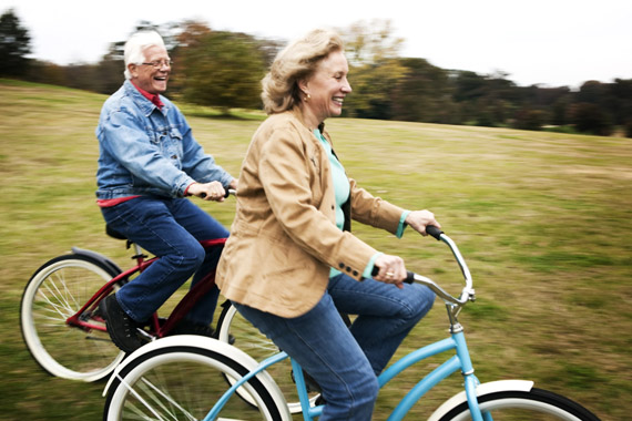 Senior Couple on Bikes