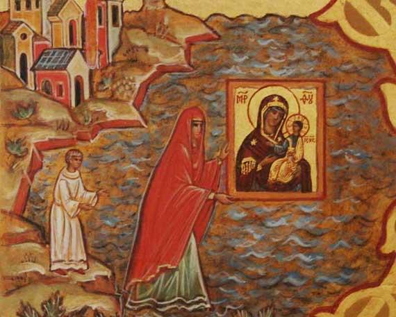 Иверская икона божьей матери на афоне