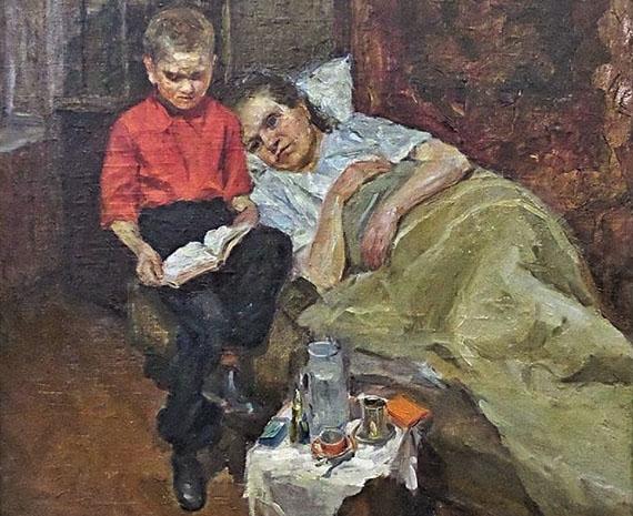 """художник Орлов """"Мама болеет"""" (1954)"""