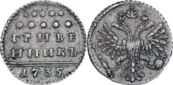 Гривенник 1735 года. Изображение с сайта moneta-russia.ru