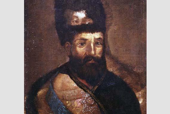 Портрет  Емельяна Пугачёва, написанный поверх портрета Екатерины Второй.  Неизвестный художник, 1773 год. Изображение с сайта mediashm.ru