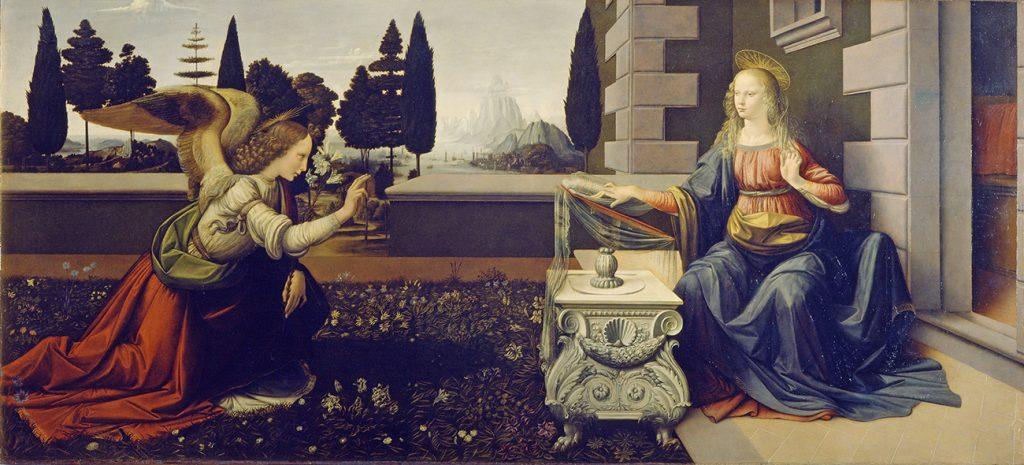 Это изображение имеет пустой атрибут alt; его имя файла - Leonardo_da_Vinci_-_Annunciazione_-_Google_Art_Project-1024x465.jpg